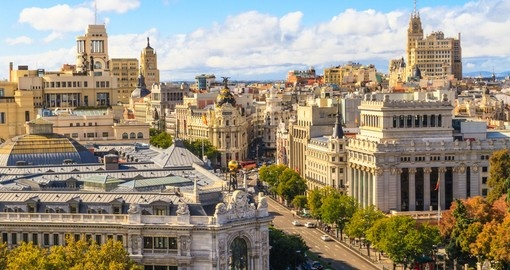 Madrid cityscape and aerial view of of Gran Via shopping street