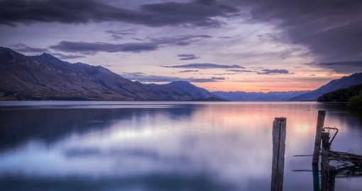 Beautiful sunset at Lake Wakatipu during your stay in New Zealand.