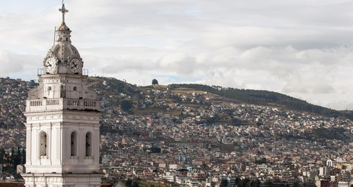 Enjoy the view of Santo Domingo Church and Aerial View of Quito on your Ecuador Vacation