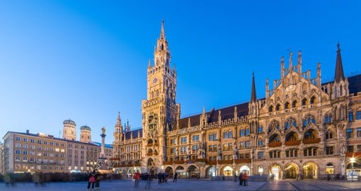 Visit the famous Clock Tower in Marienplatz Square, Munich on your German vacation.