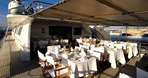 Al fresco dining on board  your Pegasus Cruise