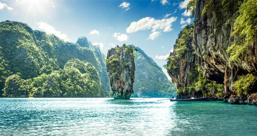 "Phang Nga Bay also know as ""James Bond Island"" is featured on your Yhailand Vacation"