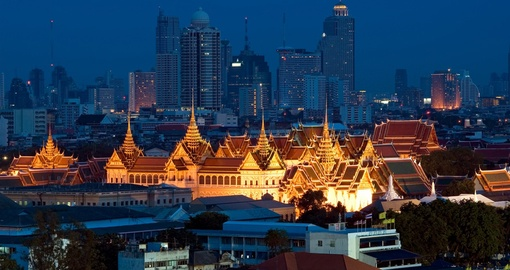 The Grand Palace and Bangkok's dramatic skyline