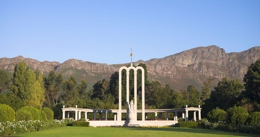 Visit Franschhoek and see the Huguenot Monument during your South African vacation.