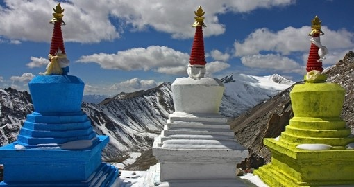 Three stupas high in the Himalayas