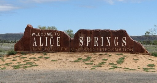 A sign welcoming travellers to Alice Springs, a town in Northern Territory
