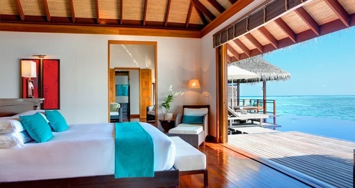 The Presidential Villas give you the option to have part of your villa open so you can sleep and enjoy the ocean air on your Maldives Vacation