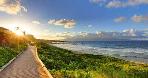 Oneloa Beach Pathway at sunset, Maui