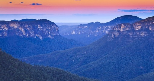 Beautiful Blue Mountain Grand Canyon at Sunset a highlight of your Australia Vacation