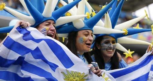 Uruguay fans celebrating at the 2014 World Cup