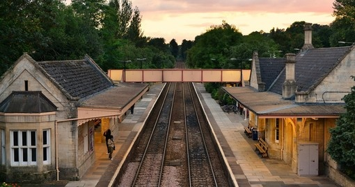 View of the town train station in Bradford on Avon