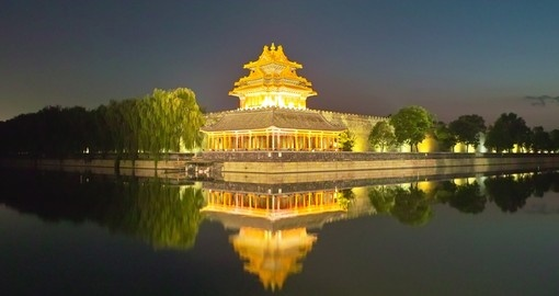Forbidden City and river night view Beijing