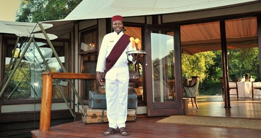 A warm welcome on your South Africa safari trip at Hamilton's tented camp