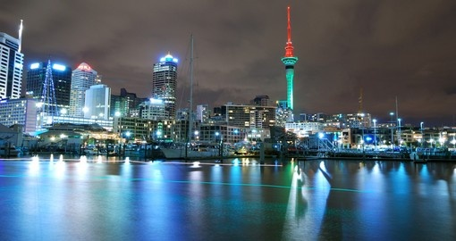 Auckland at night is a great time to explore the city on your New Zealand vacation.