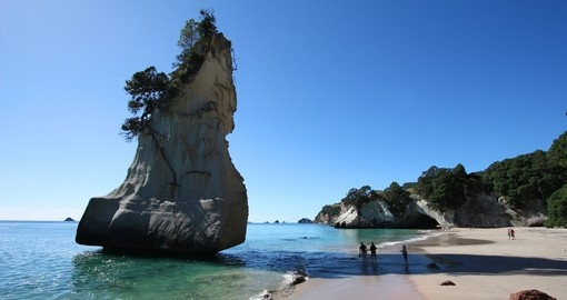 The famous Cathedral Cove in the Coromandel Peninsula is a great photo opportunity during your New Zealand vacation.