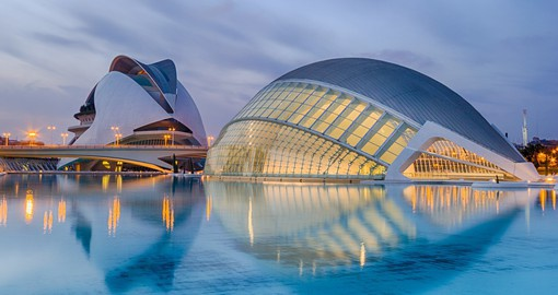 The futuristic City of Arts and Sciences complex in the port city of Valencia lies on Spain's southeastern coast