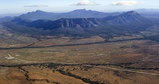 An aerial view of the majestic Wilpena Pound