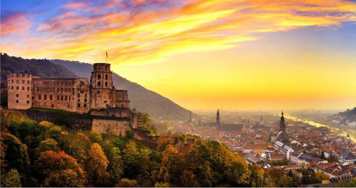 Heidelberg Castle, perched on the slopes of Mount Konigstuhl some 70 metres above the Neckar
