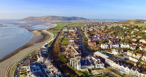 Aerial view including Conwy Golf Club  and the Great Orme in the distance
