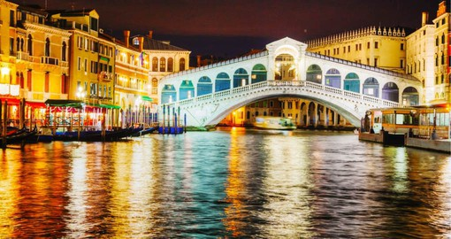 The Rialto Bridge is the oldest of the bridges spanning the Grand Canal