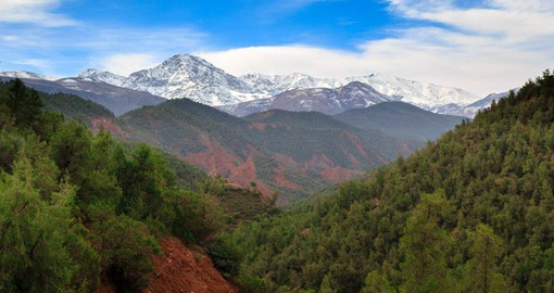 Spanning 2,500 km, the Atlas Mountains separate the Atlantic coast from the Sahara Desert