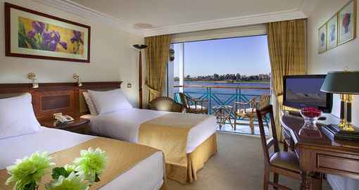 Relax in your spacious Twin Cabin on your Egypt Tour