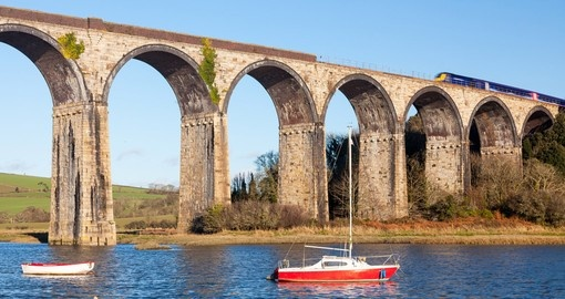 The 1908 railway viaduct at St Germans Cornwall England