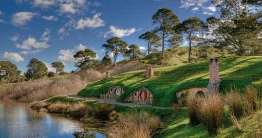 Experience the famed town of Hobbiton from the Lord of the Rings series during your New Zealand Vacation.
