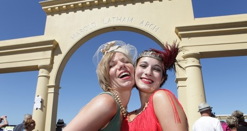 Two women in 20's costumes in Napier