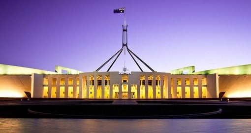 Australia's landmark Parliament House and a great inclusion for all Australia vacations.