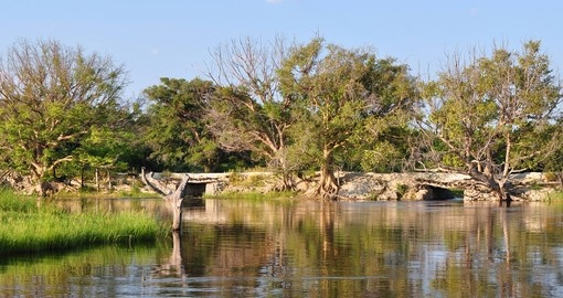 The old bridge over Thamalakane River near Maun is a photo stop while on your Botswana safari.