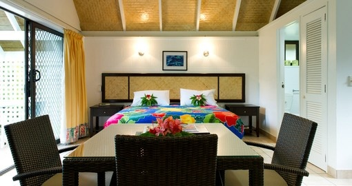 The spacious Palm Grove Bedroom Suite is perfect for travelers during their Cook Island Vacation