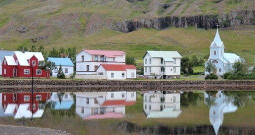 Scenic View of the Small Town of Seydisfjordur in East Iceland
