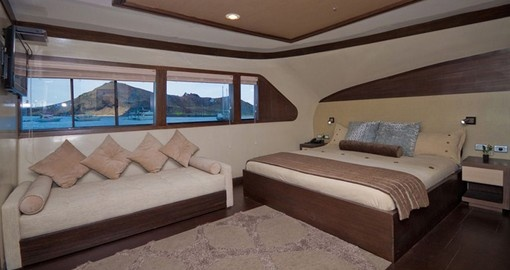 Relax on your comfortable suite on your Galapagos vacation