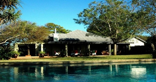 Take a dip in the swimming pool at the White Elephant Safari Lodge during your South Africa trip.