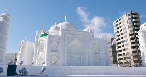 Snow sculpture of the Taj Mahal