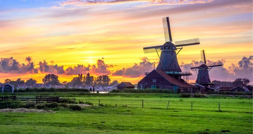 Kinderdijk near Rotterdam and Dordrecht in South Holland has the largest collection of historical working windmills in the Netherlands
