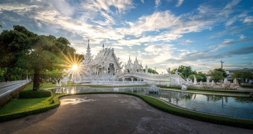 "Wat Rong Khun, better known as ""the White Temple"" is one of the most recognizable temples in Thailand"