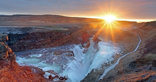 See the Gullfoss waterfall during your trip to Iceland.