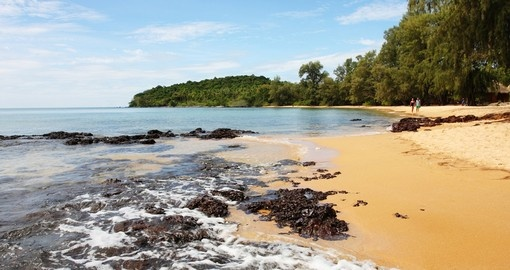 Stroll unspoiled beaches on the Bay of Thailand on your Cambodia Vacation