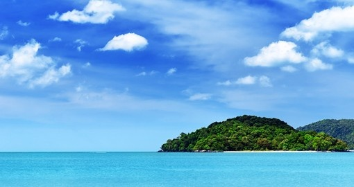 Blue sky and clear water at Langkawi beach