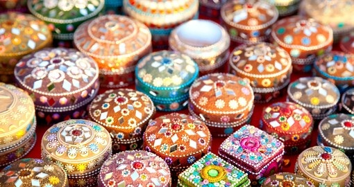 Colourful jewel boxes sold at the market
