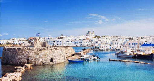 Enjoy crystal clear waters and coastal cuisine on your Trips to Greece