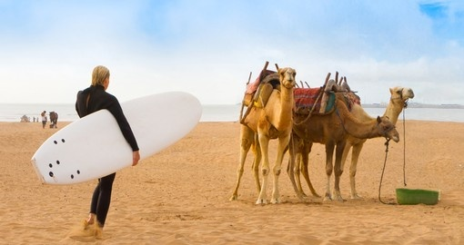 Have fun on the beach of Essaouira during your Morocco vacation.