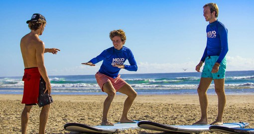 Next will be surfing lesson on the beach on your next Australia tours.