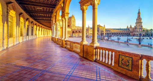 Plaza de Espana in Seville, built for the 1929 Ibero-American Exposition World's is a beautiful example of the Mudejar architectural style