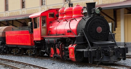 Ecuadorian steam locomotive in cimbacalle trains museum