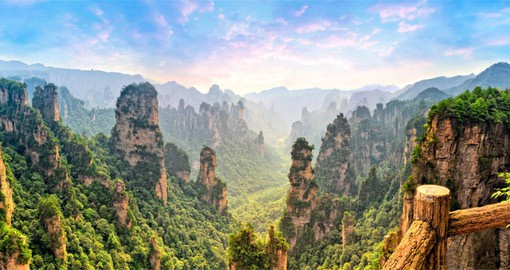 The unique quartz and sandstone peaks and pinnacles of the Zhangjiajie Forest Park are found nowhere else on earth