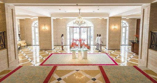 A hotel with grand and regal appointments