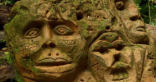 Ancient sculpture in Amazonian bazin of Ecuador